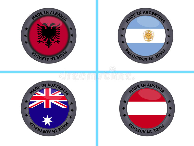 Made in buttons. A set of buttons with flags and Made in text for Albania, Argentina, Australia and Austria stock illustration