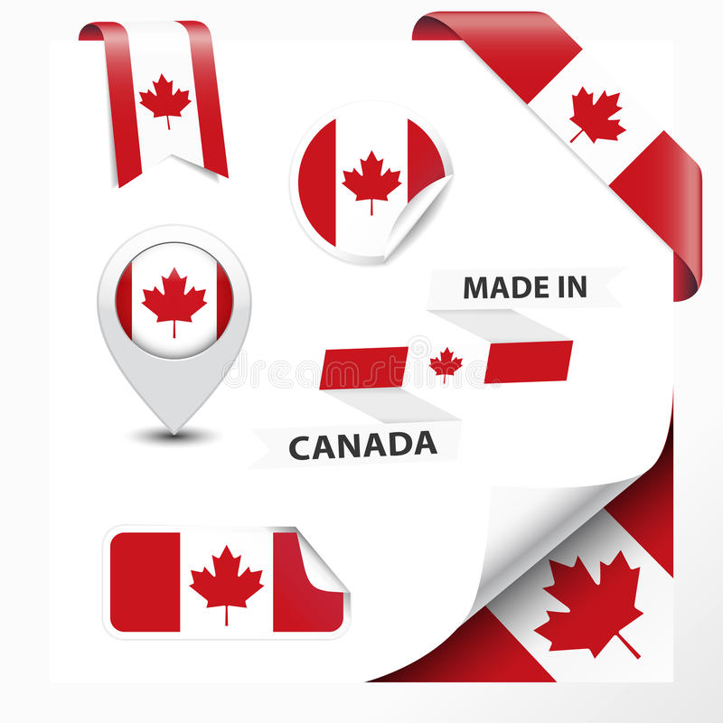 Made in canada collection of ribbon label stickers pointer badge icon and page curl with canadian symbol on design element