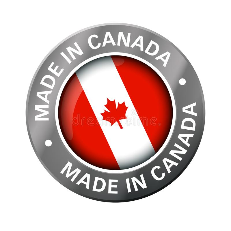 Made in canada flag metal icon royalty free illustration