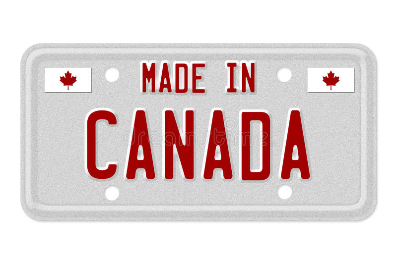 Made in Canada License Plate. The words Made in Canada in red on license plate isolated on white, Made in Canada License Plate royalty free illustration