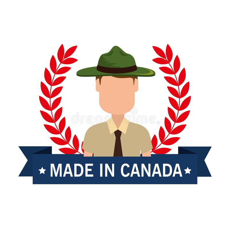 Made in canada seal with ranger forest royalty free illustration