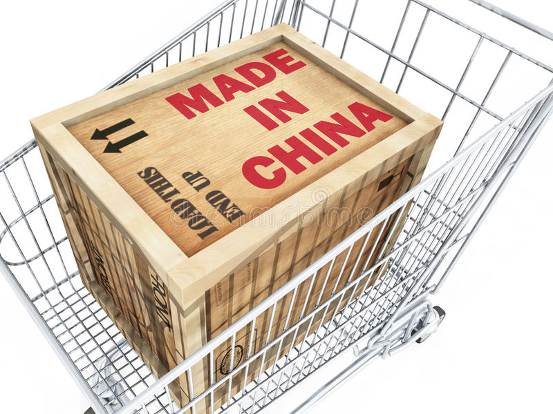 Made in China Crate in Shopping Cart stock illustration