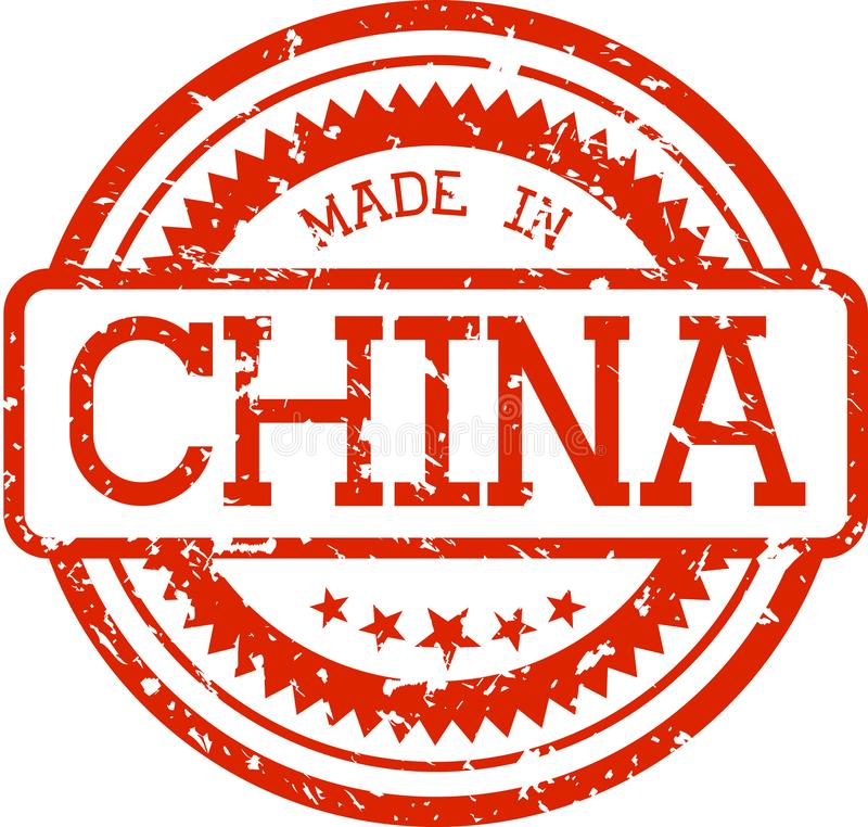 Made in china grunge rubber stamp isolated on white royalty free illustration