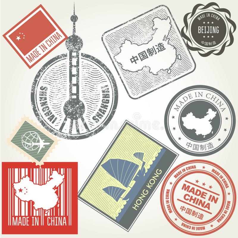 Made in China grunge rubber stamps vector illustration