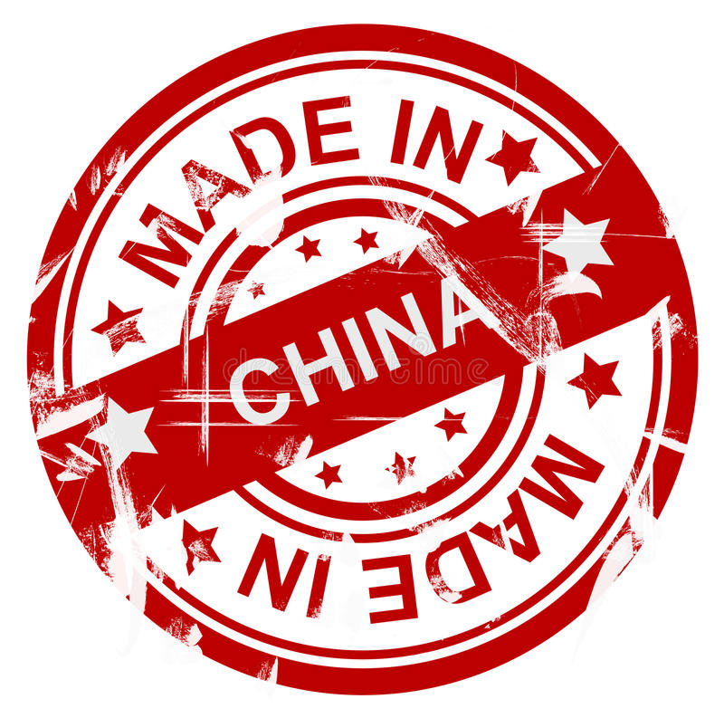 Made in China. Poster or stamp with the words made in china with red on white. Scratched or grunge style royalty free stock images