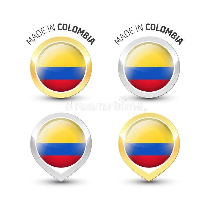 Made in Colombia - Round labels with flags stock illustration