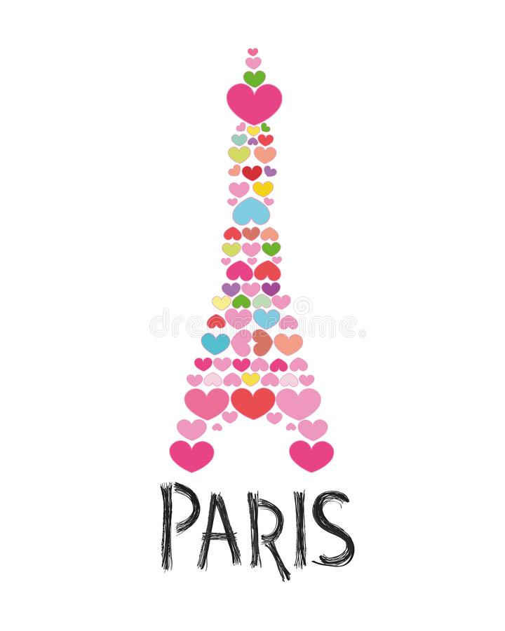 Made of colorful heart Eiffel tower. Paris text with hand drawn. Greeting card vector illustration
