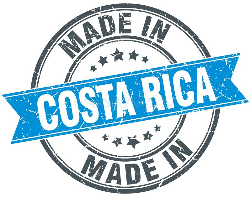 Made in Costa Rica stamp. Made in Costa Rica round ribbon stamp isolated on white background. Costa Rica royalty free illustration