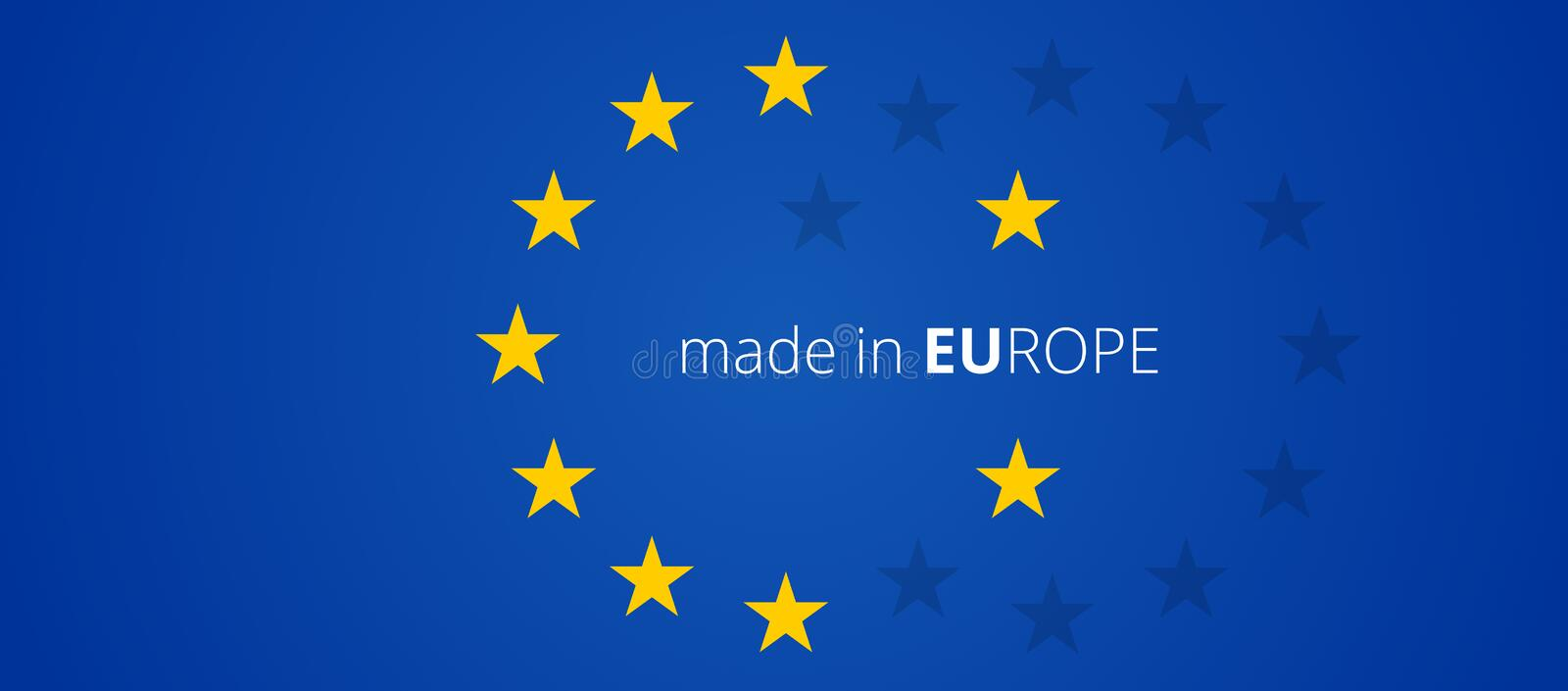 Made in Europe creative abstract stars of the flag of Europe background 3d-illustration royalty free illustration