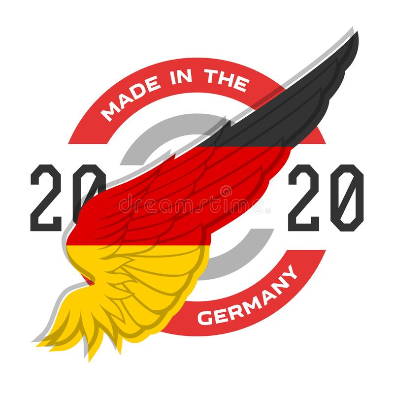 Made in the Germany. Badge with German flag colors. Vector. stock illustration