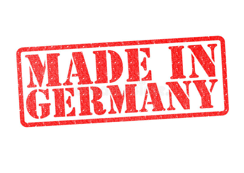 MADE IN GERMANY Rubber Stamp. Over a white background stock photo
