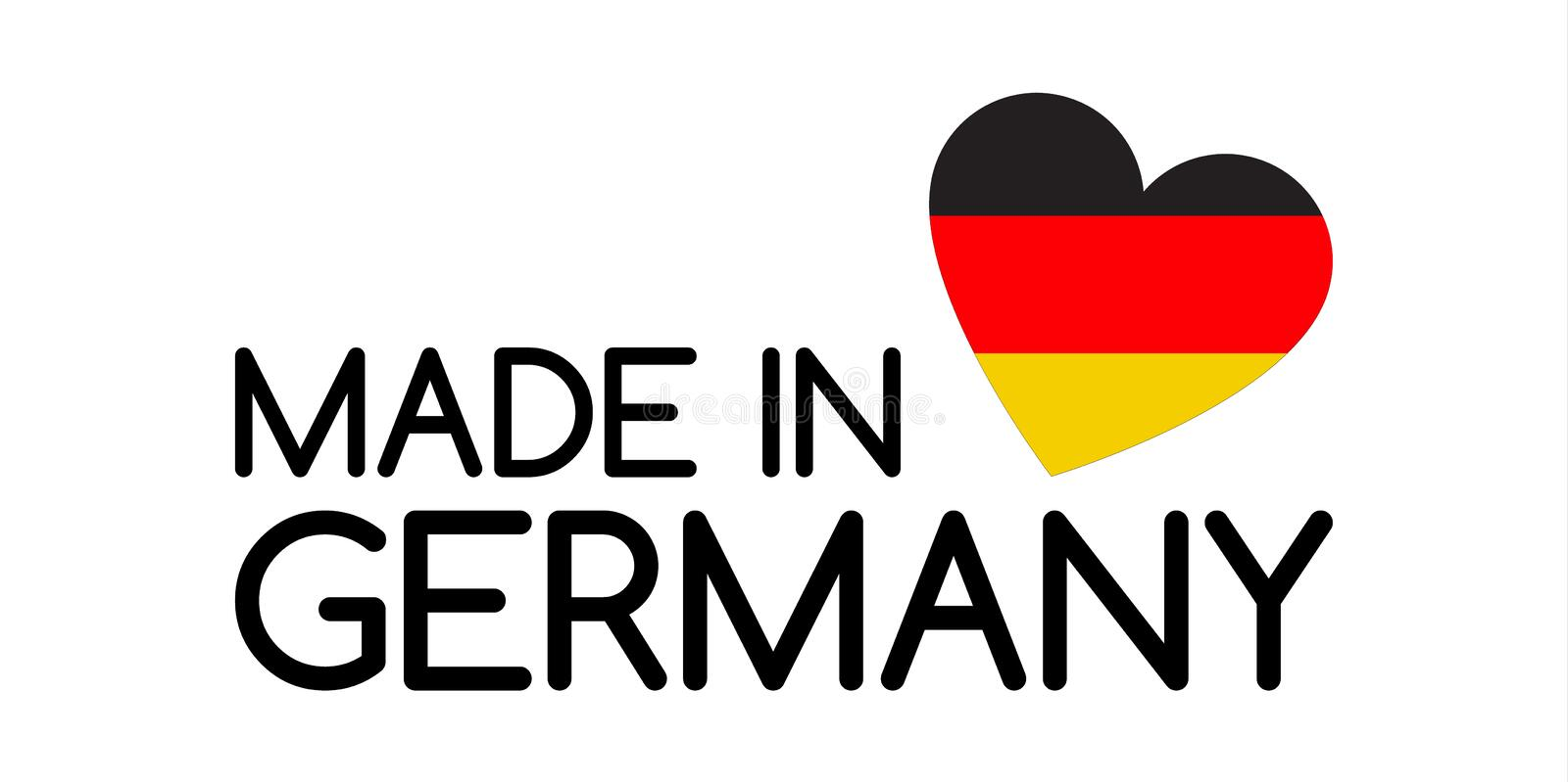 Made In Germany Symbol With Heart In The Colors Of The German