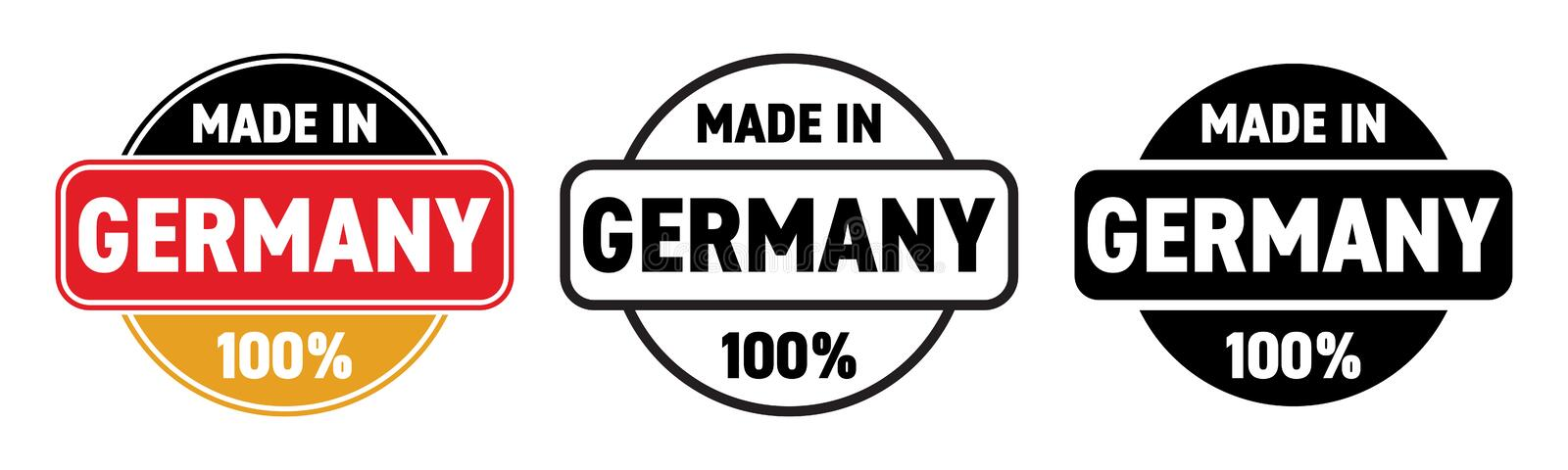 Made in Germany vector icon. German made quality product label, 100 percent package stamp. Made in Germany vector icon. German made quality product label, 100 stock illustration