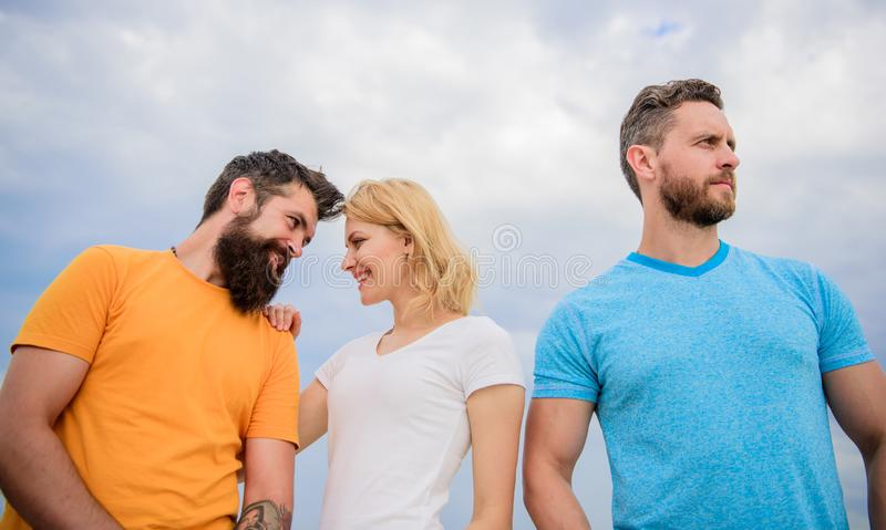 She made her choice. Girl decided with whom dating. Start romantic relationships. Girl stand between two men. Couple and. Rejected partner. Woman picked royalty free stock images