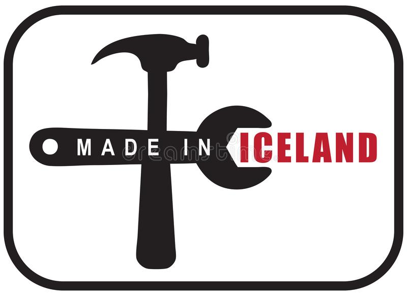 Made in Iceland. A graphic symbol for industrial use is made in Iceland. Vector illustration stock illustration