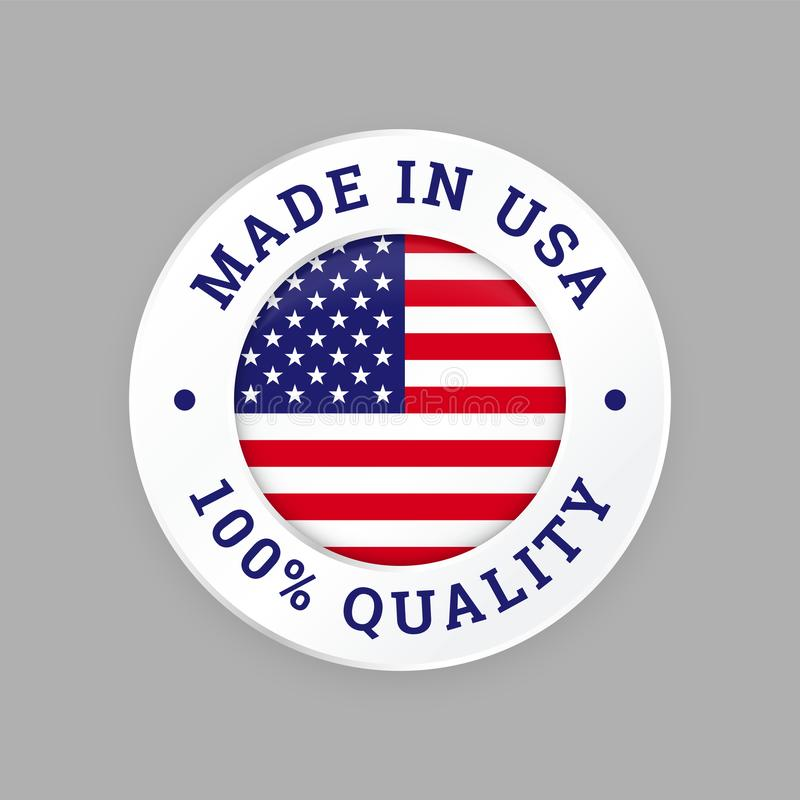 Free Made In USA 100 Percent American Quality Seal Stock Photo - 125358780