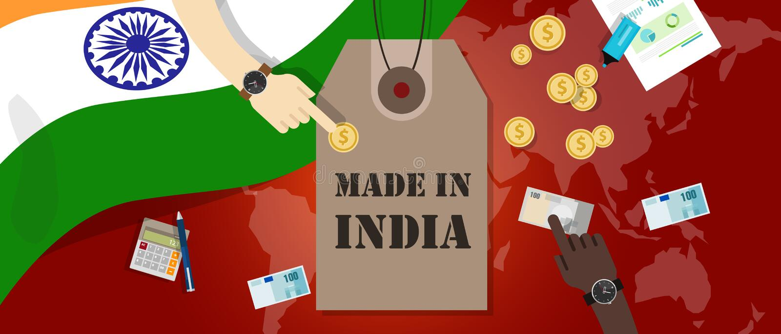 Made in India price tag illustration badge export patriotic business transaction royalty free illustration