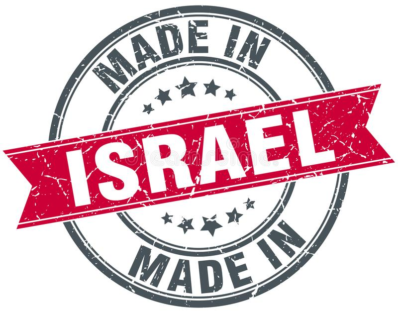 Made in Israel stamp. Made in Israel round ribbon stamp isolated on white background. Israel stock illustration