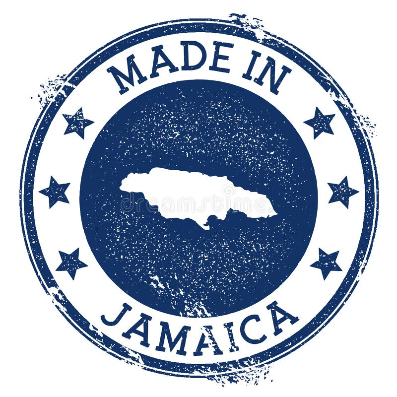 Made in Jamaica stamp. Grunge rubber stamp with Made in Jamaica text and country map. Ecstatic vector illustration vector illustration