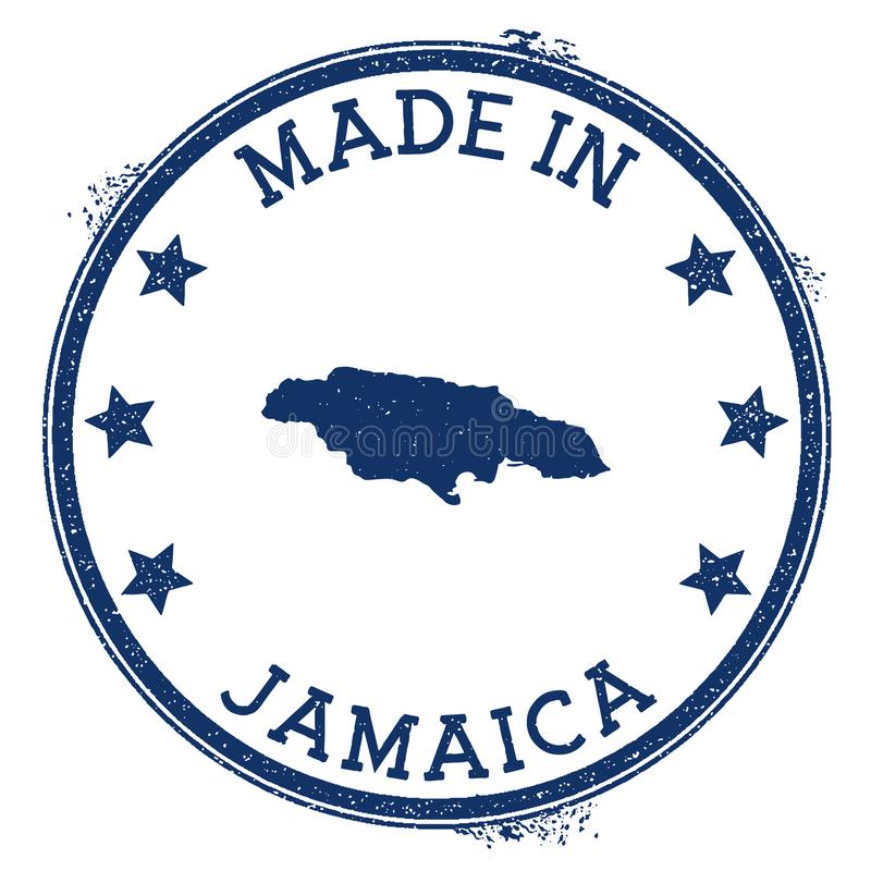 Made in Jamaica stamp. Grunge rubber stamp with Made in Jamaica text and country map. Elegant vector illustration royalty free illustration