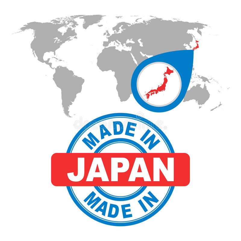 Made in Japan stamp. World map with red country. royalty free illustration