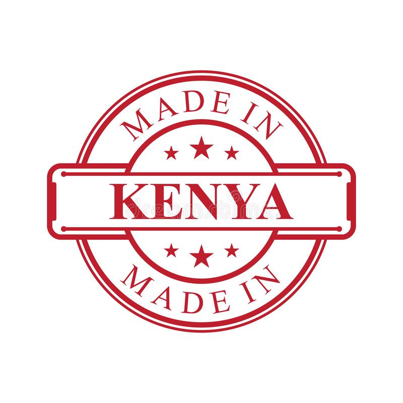 Made in Kenya label icon with red color emblem on the white background royalty free illustration