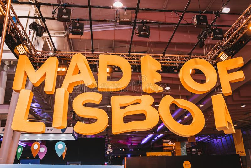 Made of Lisboa sign in Lisbon, Portugal. Made of Lisboa sign at the Web summit tech conference royalty free stock image