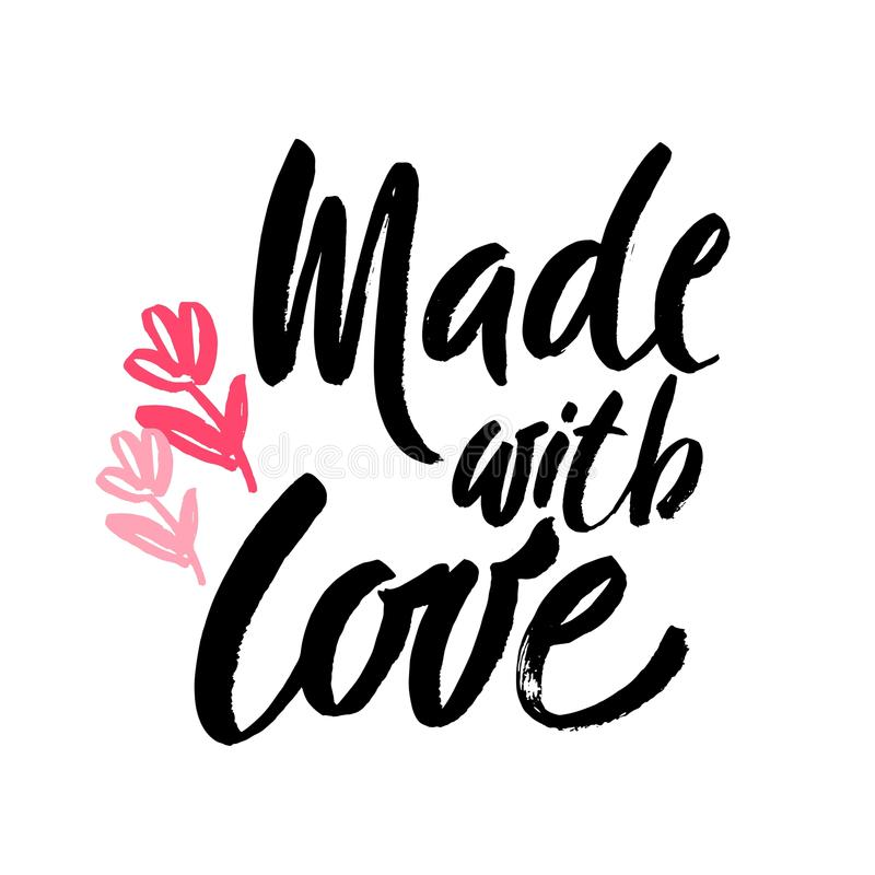 Made with Love handwritten inscription. Hand drawn lettering quote. Made with Love calligraphy. Made with Love card royalty free illustration