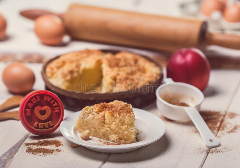 Made with love. Pie apple made with love royalty free stock photos