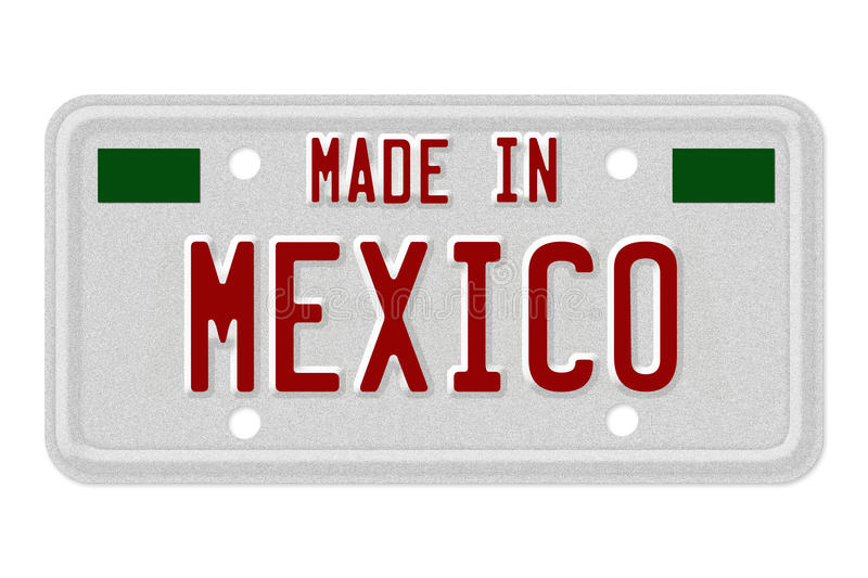 Made in Mexico License Plate. The words Made in Mexico in flag colors on a gray license plate on white royalty free illustration