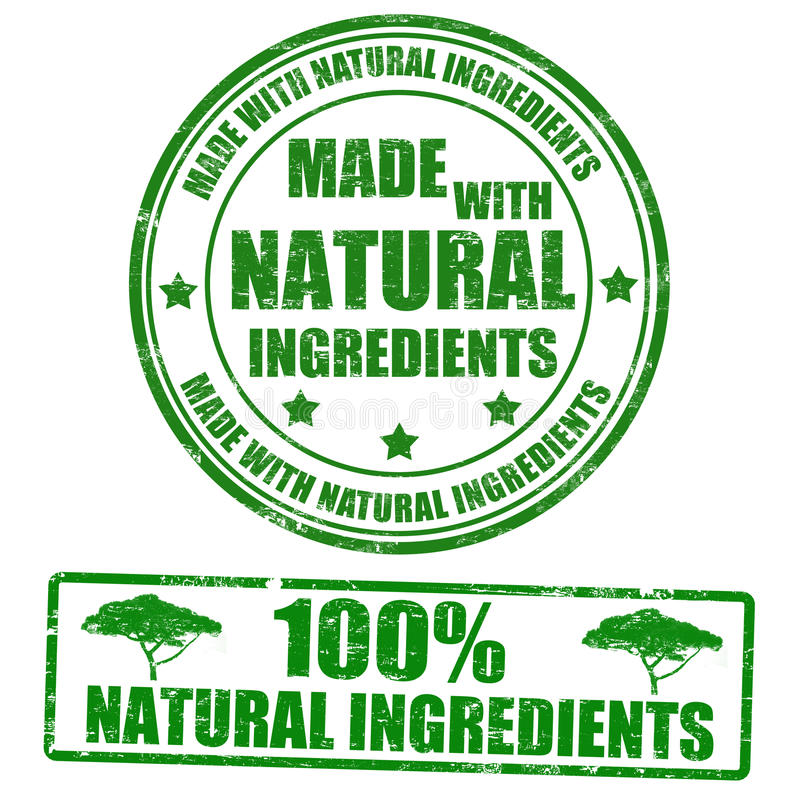 Made with natural ingredients stamps vector illustration