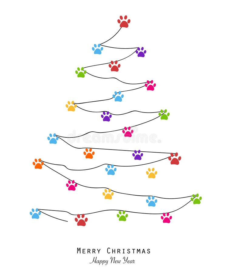 Made of paw print merry christmas tree with colorful paw print. Christmas pine tree. Merry christmas and happy new year greeting c vector illustration