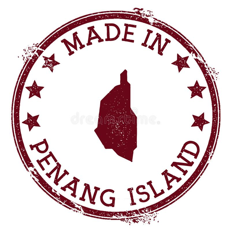 Made in Penang Island stamp. Grunge rubber stamp with Made in Penang Island text and island map. Valuable vector illustration vector illustration