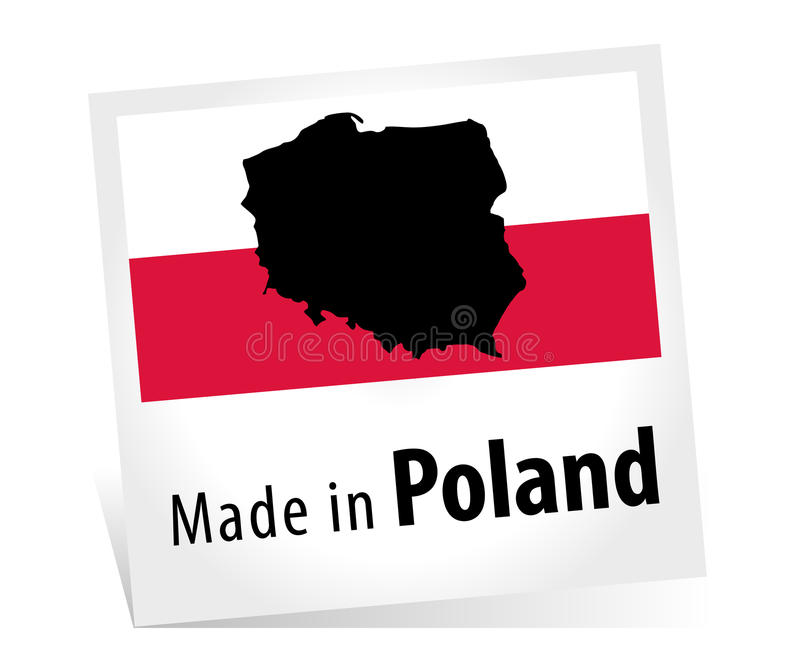Made in Poland with Flag stock illustration
