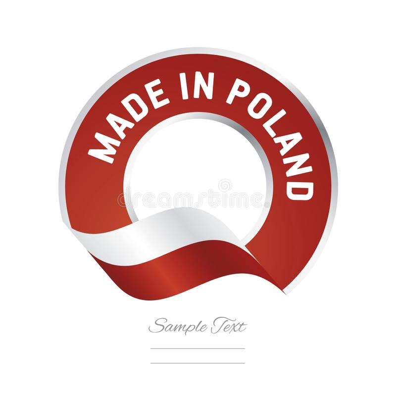 Made in Poland flag red color label button banner stock illustration