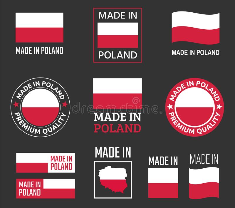 Made in Poland icon set, made in Poland product labels stock illustration