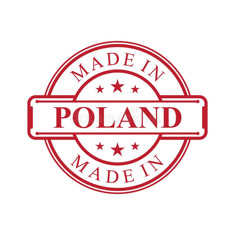 Made in Poland label icon with red color emblem on the white background stock illustration