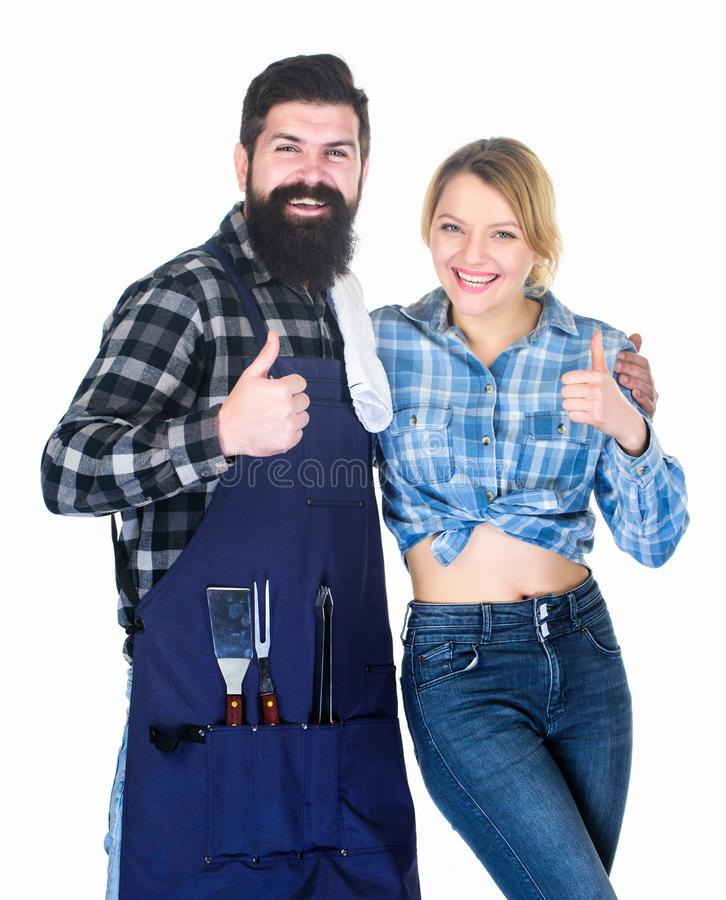 Made right choice. Couple in love hold kitchen utensils. Man bearded hipster and girl. Preparation and culinary. Picnic stock photo