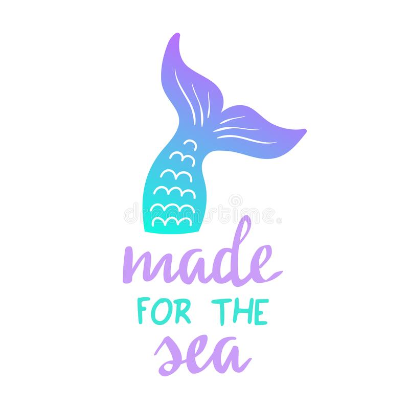 Made for the sea mermaid quote vector illustration