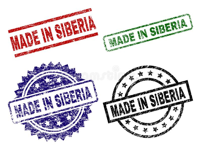 Grunge Textured MADE IN SIBERIA Stamp Seals. MADE IN SIBERIA seal prints with damaged texture. Black, green,red,blue vector rubber prints of MADE IN SIBERIA vector illustration