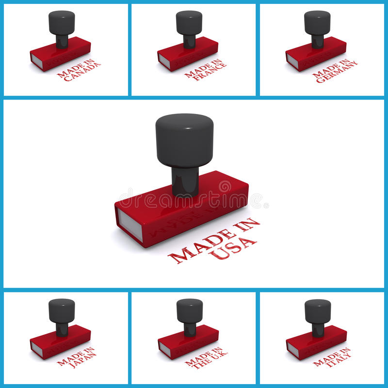 Made In Stamps Royalty Free Stock Images
