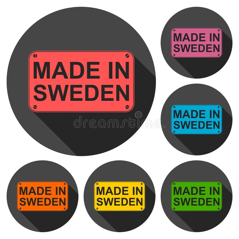 Made in Sweden icons set with long shadow. Vector icon stock illustration