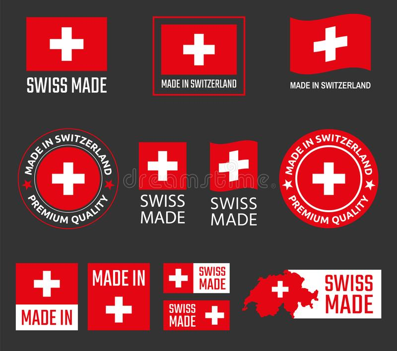 Made in Switzerland labels set, Swiss made product emblem vector illustration