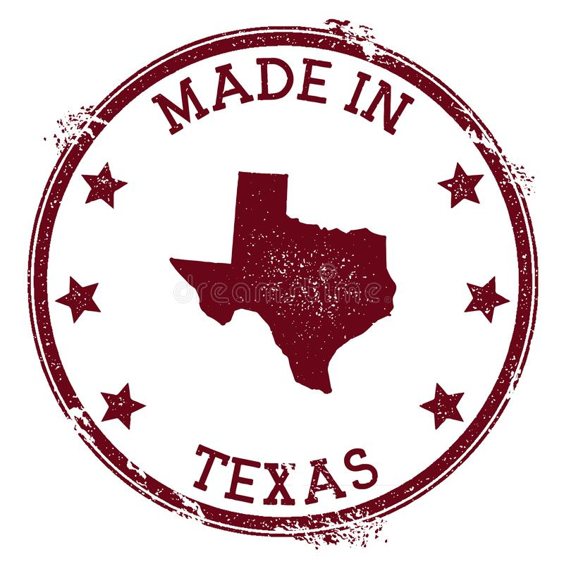 Made in Texas stamp. Grunge rubber stamp with Made in Texas text and us state map. Fresh vector illustration vector illustration