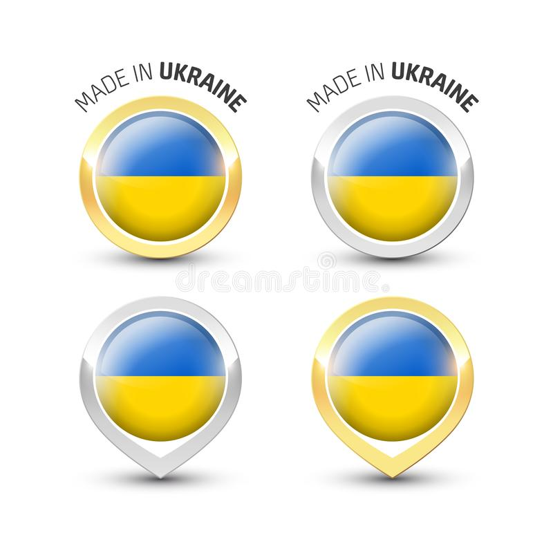Made in Ukraine - Round labels with flags stock illustration