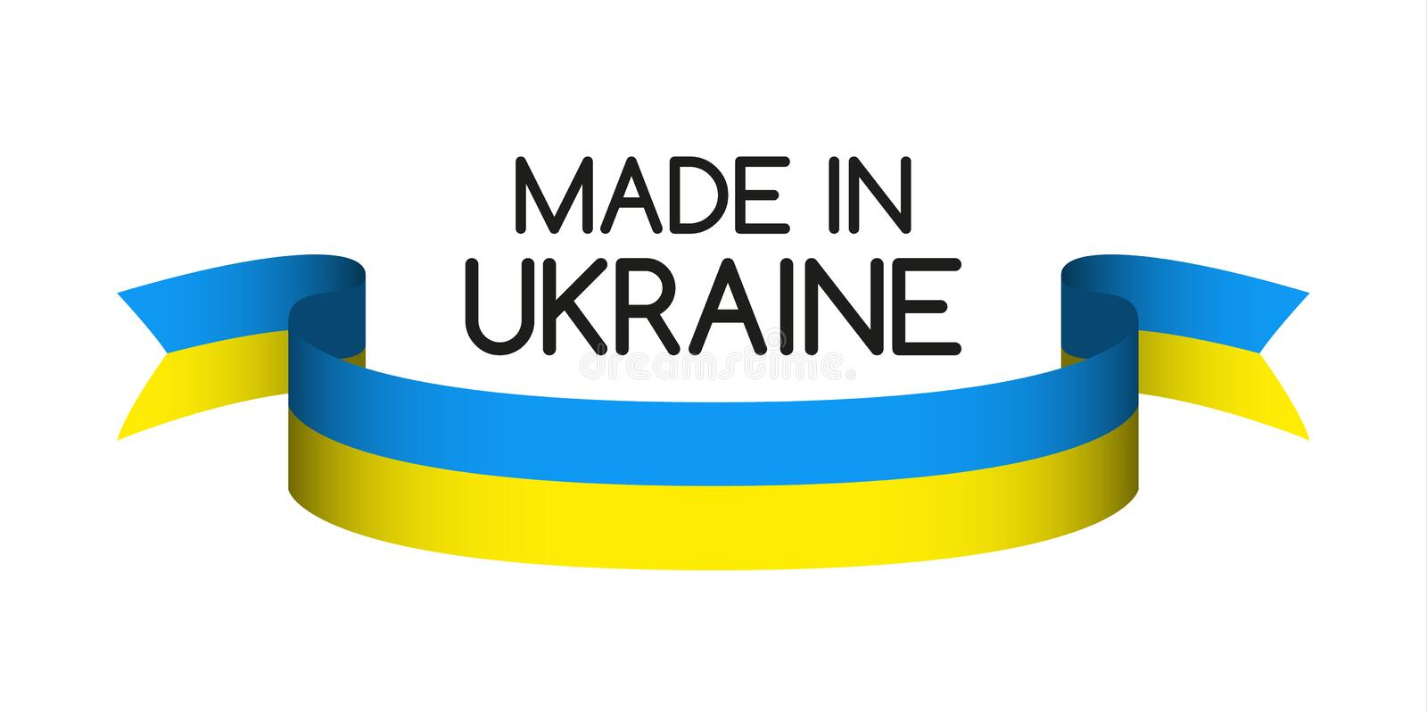Made in Ukraine symbol, colored ribbon with the Ukrainian colors royalty free illustration