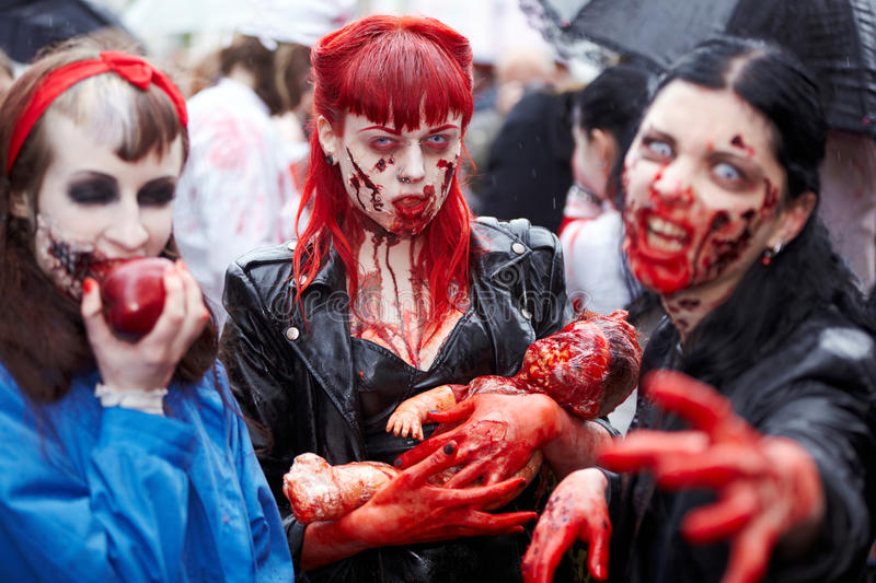 Made-up female participants at Zombie Walk stock photos