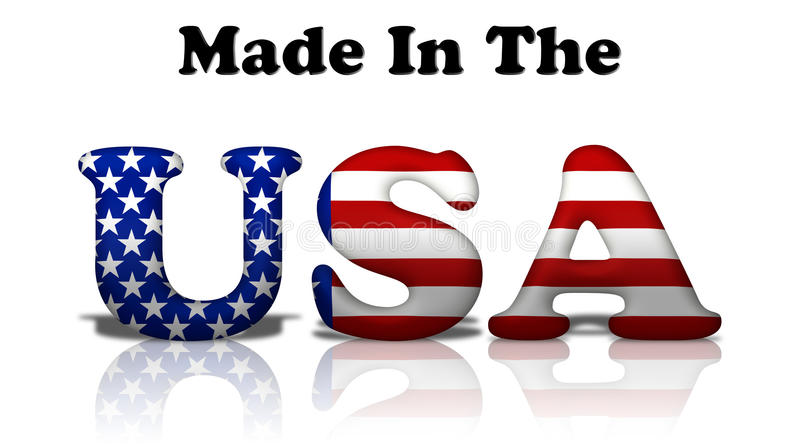 Made in the USA. The words made in the USA in the American flag colors isolated on white