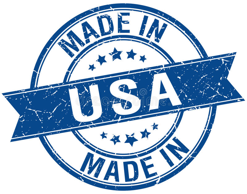 Made in usa blue round stamp. Made in usa blue round vintage stamp stock illustration