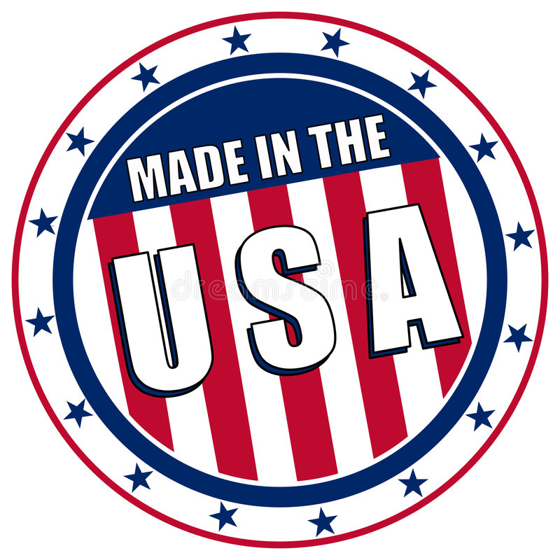Made in the USA decal. Circular Made in the USA stamp or sticker like decal